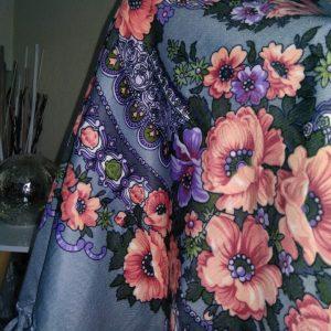 foulard gris rose pale