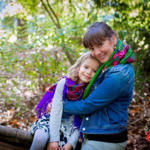 duo foulards slave mere fille varié violet vert