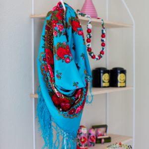 foulard turquoise stainée