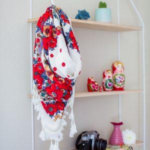 foulard blanc rouge et violet