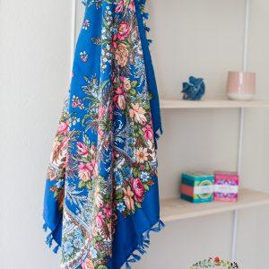 foulard bleu pétrole et vieux rose
