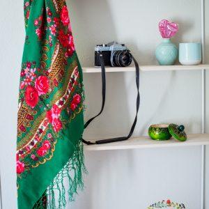 foulard vert satiné