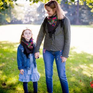 foulard traditionnel duo mere fille noir