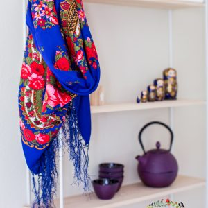 foulard slave bleu roi satiné