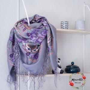 Foulard slave satiné gris violet