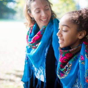 foulard duo mere fille turquoise
